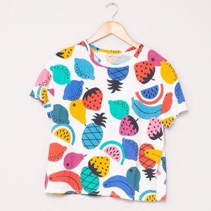 Women's Zara Basic Cropped Fruit T-Shirt